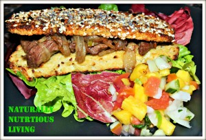 Steak and onion cauliflower sub